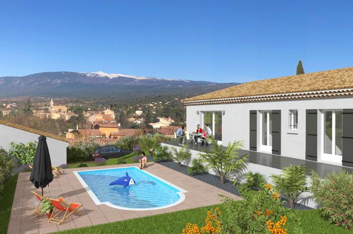 vastgoed villa kopen in Zuid-Frankrijk bij Belgisch immokantoor, nieuwbouw met airco en zwembad en zicht op de Mont Ventoux