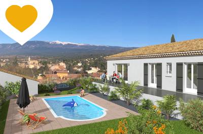 villa de plain-pied climatisée à vendre avec piscine et vue panoramique sur le Mont Ventoux